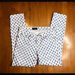 J. Crew Toothpick Women's White Blue Pants Size 28